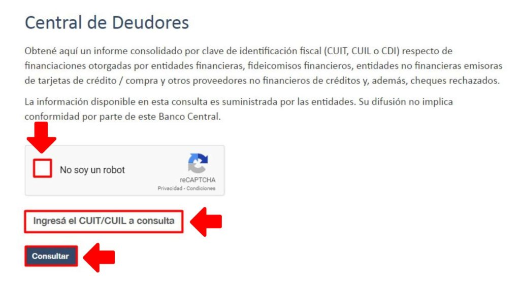 Ingresar a central de deudores CUIT Online